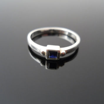 Sapphire Ring, Silver Ring, Pinky Ring, Sterling Ring, Size 4.5 Ring, 925 Ring, 925 Sapphire Ring, Child Ring, Small Silver Ring