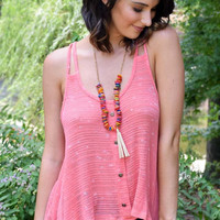 Sweet Simplicity Double Strap Knit Tank Top - Coral Pink