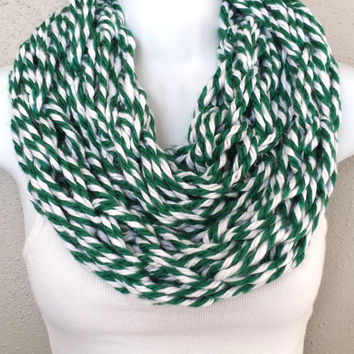 Festive Green and White Intertwined Arm Knitted Scarf Womens Knitted Infinity Scarf Saint Patricks Day Knitted Scarf St Pattys Day Scarf