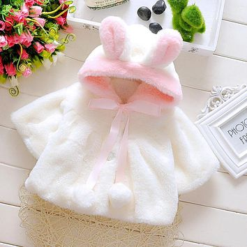 infant flannel fleece warm winter poncho lolita rabbit ears baby cute fur coat spring jackets