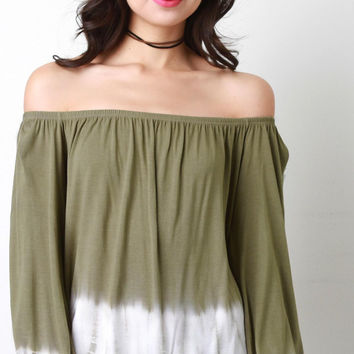 Off The Shoulder Tie Dye Hem Top