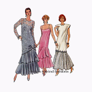 1980s VOGUE EVENING GOWN Drop Waist Tunic & Dress Mother of Bride Groom Dress Vogue 9782 Bust 36 38 40 UNCut Vintage Womens Sewing Patterns