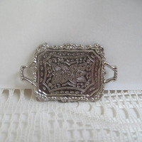 Miniature Silver Tray 1:12 Scale Dollhouse Metal Serving Tray Dollhouse Accessories