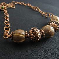 Chunky Wood and Copper Necklace Bold Wood and Copper Jewelry Handmade Artisan Jewelry Big Beaded Necklace