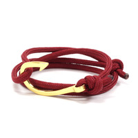 Gold Hook on Maroon Rope