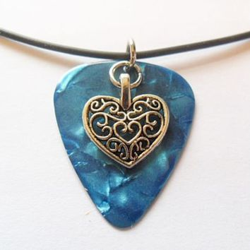 Turquoise blue guitar pick necklace with heart pendant charm, musical necklace | eBay
