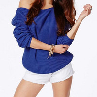 Off Shoulder Knit Sweater - Multi Colours