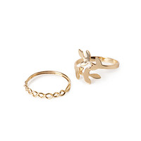 Twisted Leaf Ring Set