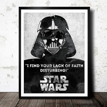 Star Wars poster. Movie poster. Star Wars quote. Darth Vader poster. Black and white. Handmade poster.