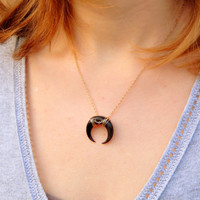 Tusk Double Horn Necklace, Black Horn Necklace, Moon Necklace, Crescent Necklace, Gold moon Necklace, Real horn necklace, horn charm 468