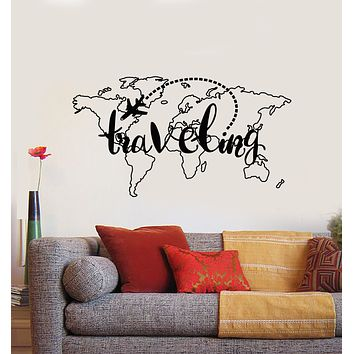 Vinyl Wall Decal Traveling Map Vacation Tourism Aircraft Country Stickers Mural (g887)