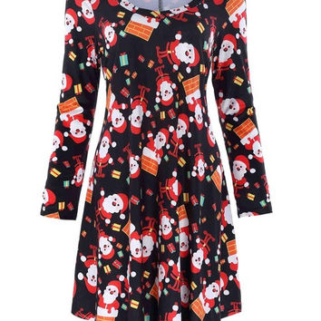 New Fashion Women Vintage Tunic Formal Work Elegant red Xmas Christmas Loose Long Sleeve V-Neck Personality Floral Dress