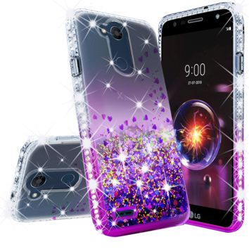LG X Power 3, X Power 3 Case Liquid Glitter Phone Case Waterfall Floating Quicksand Bling Sparkle Cute Protective Girls Women Cover for X Power 3 - Purple