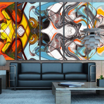 Art Abstract Canvas Print - Multi-Colored Pattern Digital Giclee, Colorful Art Large Wall Art for Home or Office Decoration