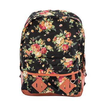 VSEN Hot Women Girl Lady Canvas Rucksack Vintage Flower School Book Bag Backpack Satchel