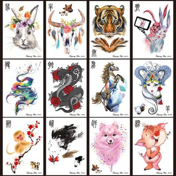 12Pcs/Lot Large Animal Arm shoulder Tattoo Indian Tiger Dragon Waterproof Temporary Tattoos Stickers Men on Body Back Art Sleeve