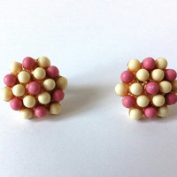 Flower Button White Pink Earrings, Beaded, Beads, Round, Studs