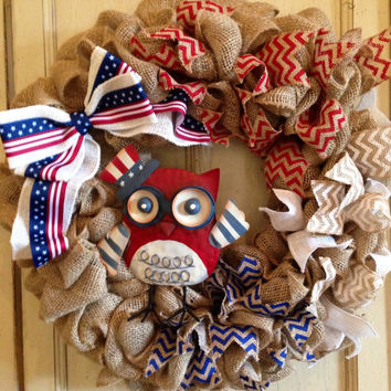 Patriotic Burlap Wreath, America Wreath, July 4th Wreath, Memorial Day Wreath, Usa Wreath, Burlap Red White Blue Wreath, Military Decor
