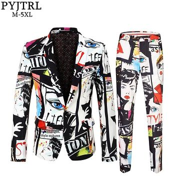 PYJTRL Brand Tide Mens Fashion Print 2 Pieces Set Casual Suits Plus Size Hip Hot Male Slim Fit Suit Men Singer Wedding Costume