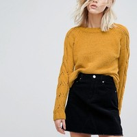 Only Cable Knit Sleeve Jumper at asos.com