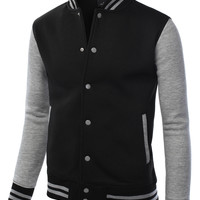 LE3NO Mens Varsity Baseball Bomber Jacket