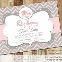 Elephant Baby Shower Invitation - Pink and Gray Grey Chevron - Baby Girl - PRINTABLE Invitation Design
