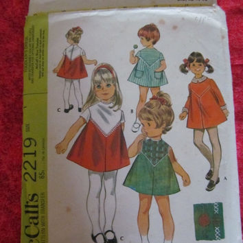 Spring Fever Sale 1960's McCall's Sewing Pattern, 2219! Size 1, Girls, Infants and toddlers, Dresses, Sleeveless, Short Sleeves, Long Sleeve