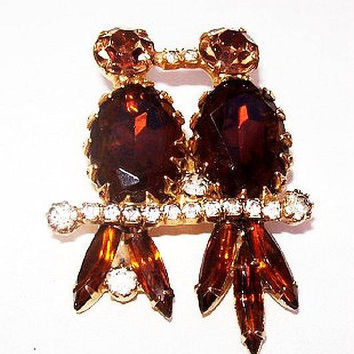 Love Bird Brooch Pair Topaz Champagne & Clear Rhinestones Perched on Branch Gold Metal 2' Vintage