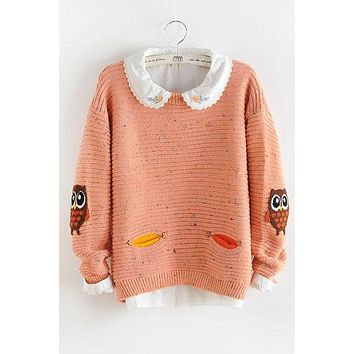 Owl Print Scoop Loose Knit Pullover Sweater