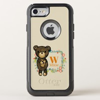 Teddy Bear, Yellow Flower & Floral Wreath Monogram OtterBox Commuter iPhone 8/7 Case