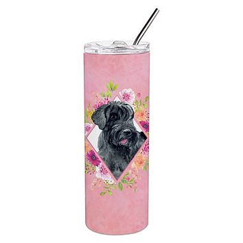 Giant Schnauzer Pink Flowers Double Walled Stainless Steel 20 oz Skinny Tumbler CK4178TBL20