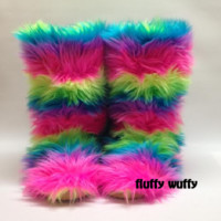 Electric Rainbow Fluffy Wuffy Boots