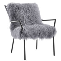 Uma Grey Sheepskin Accent Chair