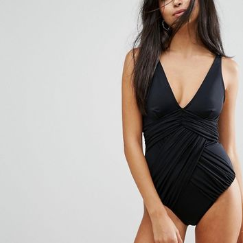 ASOS 'Sculpt Me' Control Drape Front Supportive Swimsuit at asos.com