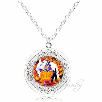 White Ghost Jack o Lantern Pumpkin Locket Necklace Halloween Black Cat Witch Pendant Glass Pendants Necklaces Jewelry