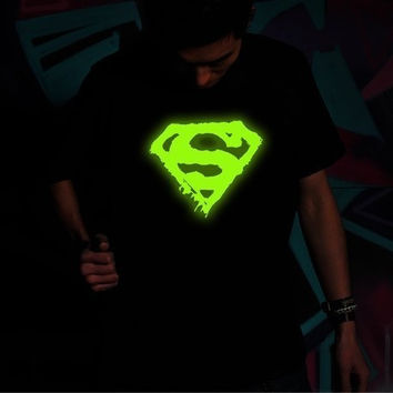 Summer Short-sleeved Punk Nightclubs glow T-shirts of Superman t shirt for men = 1946439812