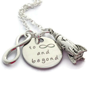 Rocket Necklace, To Infinity And Beyond, Christmas Present Ideas, Long Distance Girlfriend, I'll Miss You Gift, Space Jewelry, BFF Forever
