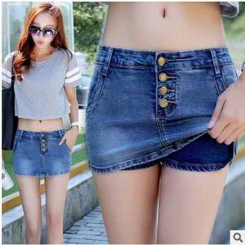 2017 Newest Womens Summer Denim Skirt Shorts Casuall Slim Middle-Waist Single Breasted Denim Short Short Femme Shorts Jeans K81