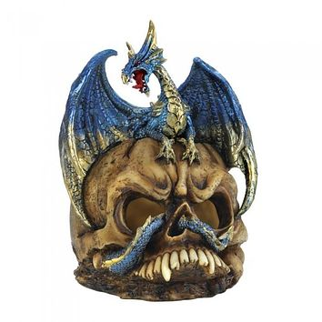 Blue Dragon & Skull Statue