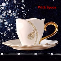 Diamond Design Coffee/Tea Cup and Saucer With Rhinestones