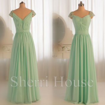 Beads Sweetheart Strapless Straps A-Line Long Bridesmaid Celebrity dress ,Floor length Chiffon Evening Party Prom Dress Homecoming Dress