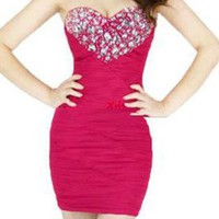 Crystals Heart Sexy Strapless Bodycon Dress