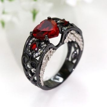 Heart Shaped Red Zircon Black Gold Filled 925 Silver Angel Wing  Engagement Wedding Ring Jewelry