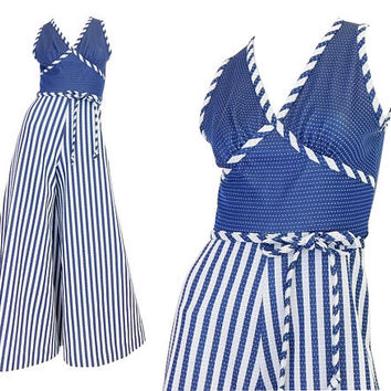 1970s Vintage Bellbottom Jumpsuit - Size 4 Women's Wide Leg Blue and White Striped Polka Dot Sleeveless Belted Palazzo Disco Jumpsuit Women
