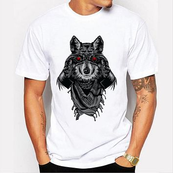 Summer Men T-shirt wolf Design Short sleeve men T Shirts Hipster Casual Tops