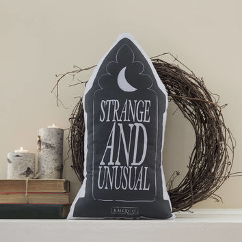 Strange And Unusual - Gravestone Pillow - Handmade Plush Throw Pillow - Horror Inspired Home Decor - Killin Me Softly - KMSxCo