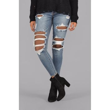 Skinny Jeans Designed Slim Ripped Destroyed Denim Pants Fishnet Crop