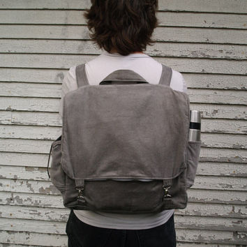 Grey corduroy backpack with adjustable straps- custom made mens womens book bag- super sturdy