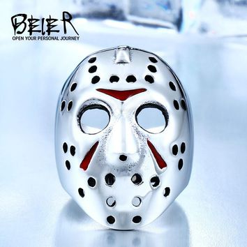 BEIER New Halloween Men Ring 316L Stainless Steel Biker Jason Voorhees Hockey Mask with red colour  Antique Men Jewelry