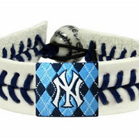 MLB New York Yankees Genuine Argyle Baseball Bracelet